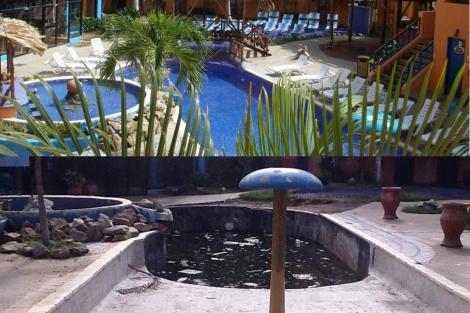 La zona de las piscinas antes y después de acoger a los damnificados.