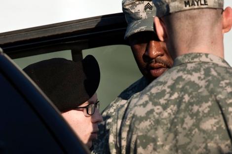 El soldado Manning llega a la vista este jueves. | AFP