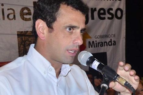 Henrique Capriles, durante un acto político en Miranda. | Efe