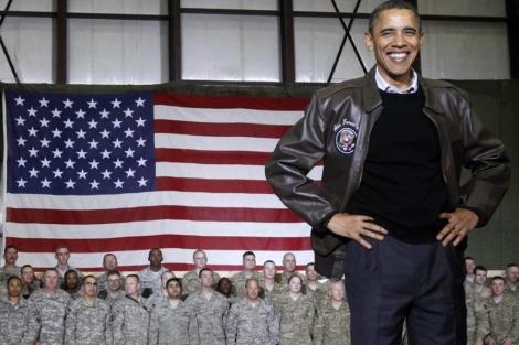 Barack Obama en una visita a las tropas de EEUU en Afganistán.