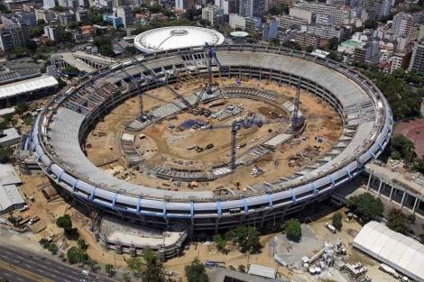 Vista aérea de las obras del estadio.| Afp