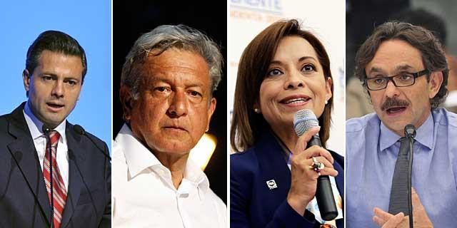 Peña Nieto, López Obrador, Vázquez Mota y Quadri.| Efe / Reuters