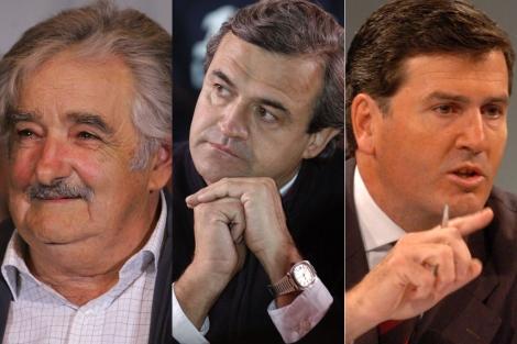 José Mujica (presidente), Jorge Larrañaga (del Partido Nacional) y Pedro Bordaberry (del Partido Colorado).