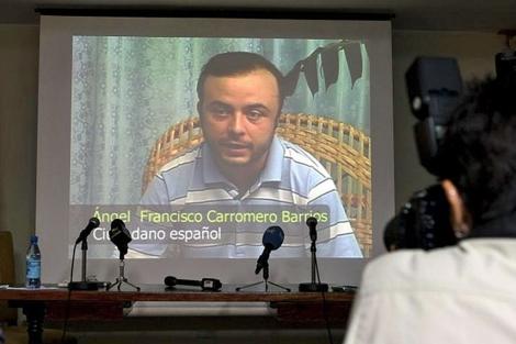 Carromero, en el vídeo proyectado en la rueda de prensa.| Efe/Alejandro Ernesto