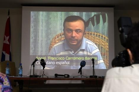 Carromero, en el vídeo proyectado en la rueda de prensa.| Efe