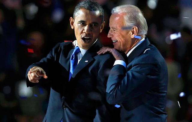 Obama, junto a Biden, celebra la victoria. | Reuters