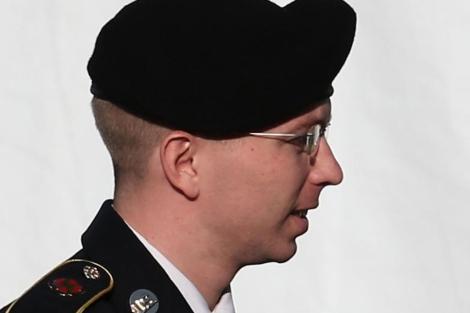 El soldado, antes de testificar.| Afp