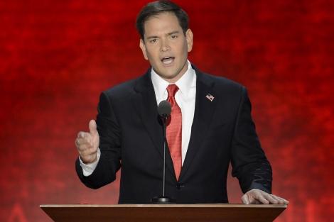 El senador latino, Marco Rubio, durante un discurso en la convención republicana.   Efe