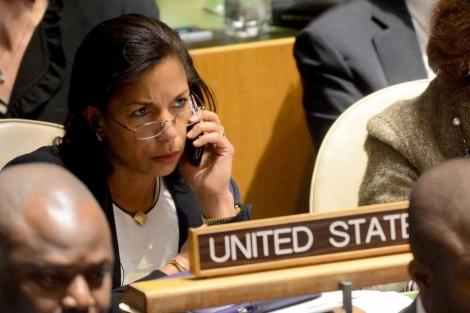Susan Rice en una asamblea de la ONU.  Afp