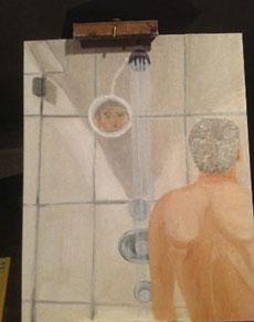 Autorretrato de Bush en la ducha.
