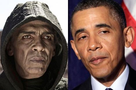 El actor Mehdi Ouzaani, caracterizado como el Diablo, y Barack Obama (dcha.).