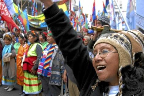 Manifestación de los pueblos originarios.