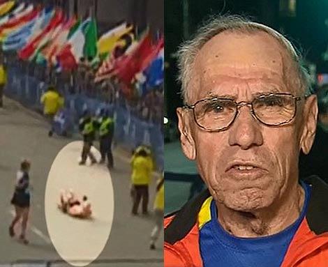 Momento en que el corredor es alcanzado por la bomba.   CNN