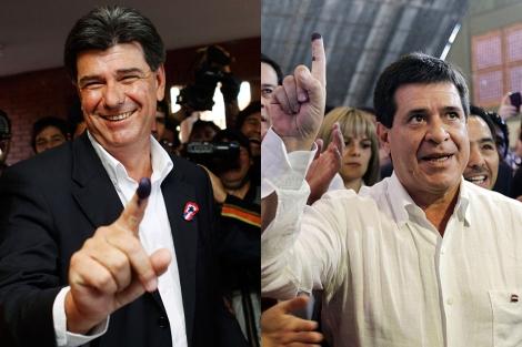 Efraín Alegre y Horacio Cartes, tras depositar su voto. | Reuters