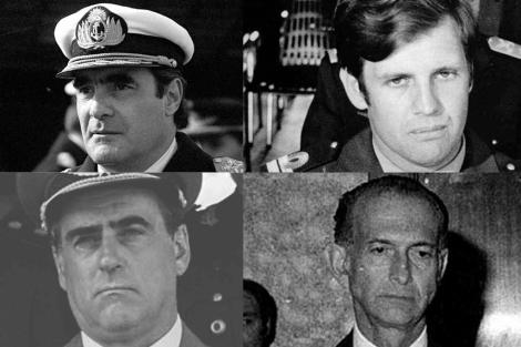 De izda. a dcha. y de arriba abajo: Massera, Astiz, Agosti y Martínez de Hoz.