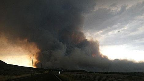 Imagen de TV del incendio en Arizona