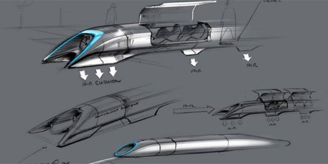 Boceto a mano de cómo sería el Hyperloop. | Reuters