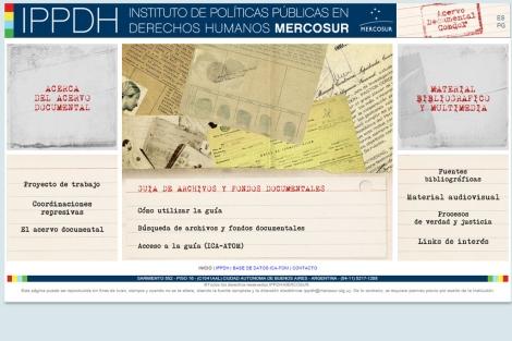 Portada de la web de la Guía de Archivos sobre el Plan Cóndor.