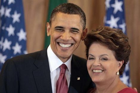 Obama y Rousseff durante una conferencia de prensa.   Afp