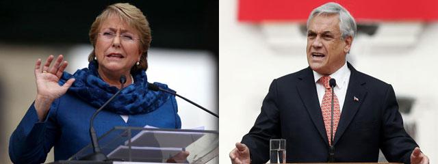 Michelle Bachelet y Sebastián Piñera, en distintos actos conmemorativos. | Reuters | Efe