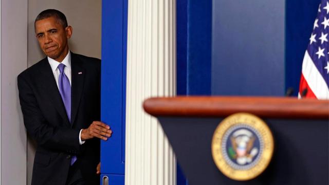 Obama, en la rueda de prensa previa a la firma del acuerdo. | Efe