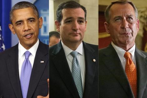 Algunas de las caras de los ganadores y perdedores: Obama, Cruz y Boehner.