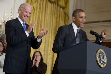 Obama habla sobre inmigración en presencia de Joe Biden.  Afp