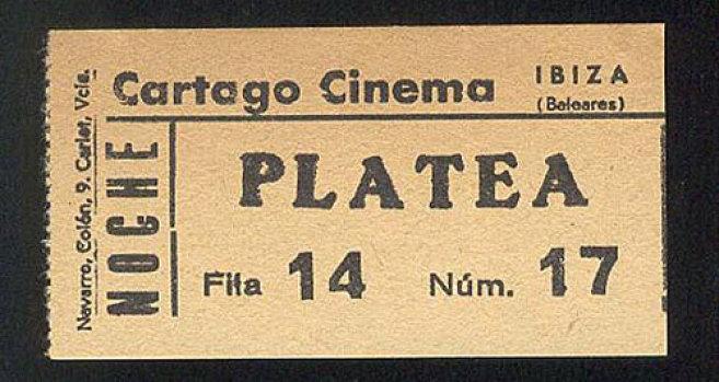 Una entrada de cine de 1980.