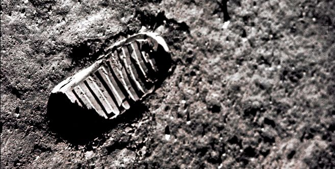 La huella de Neil Armstrong en la Luna.