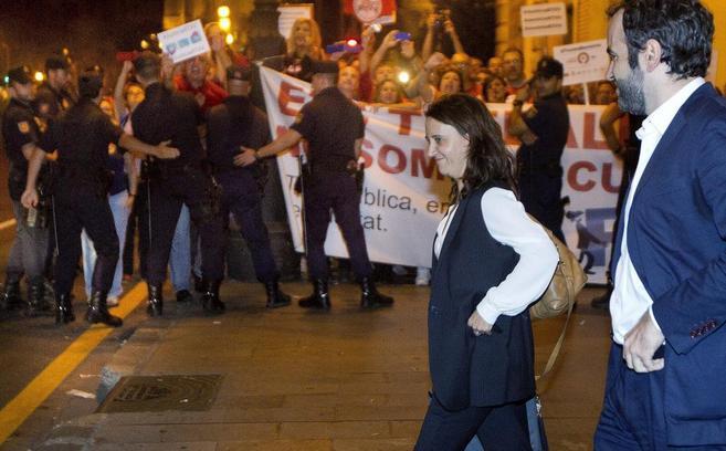 La directora de Canal Nou, Rosa Vidal, el lunes a la salida del TSJ.