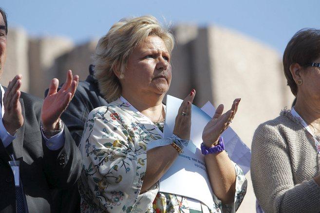 Ángeles Pedraza, presidenta de la AVT, en la manifestación del...