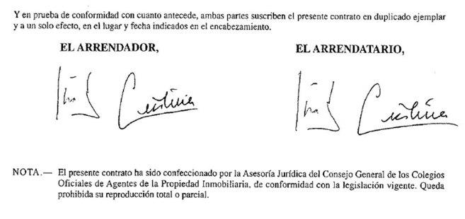 Documento de alquiler en el que los duques de Palma son &quote;arrendadores&quote;...