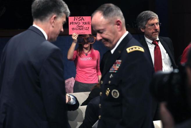 Protesta ante el director de la NSA, Keith Alexander.