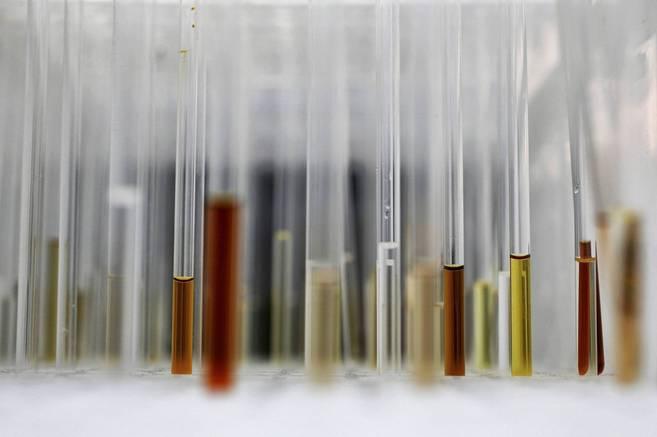 Primer plano de varios tubos de ensayo en un laboratorio