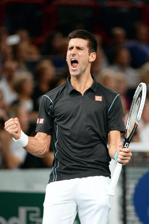 Djokovic celebra su victoria en semifinales.