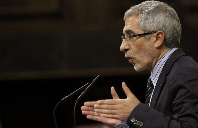 Gaspar Llamazares, durante una intervención en el Congreso el pasado...
