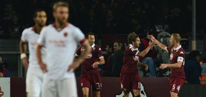 Los jugadores del Torino celebran el tanto del empate de Cerci.