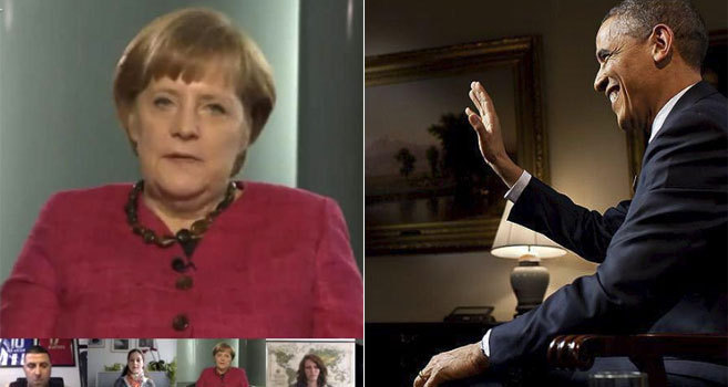 Merkel y Obama, en distintos 'hangouts'