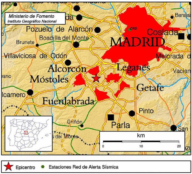 Mapa sísmico del terremoto.