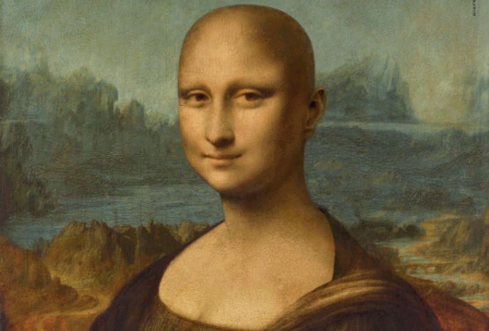 Fotomontaje de la Mona Lisa calva
