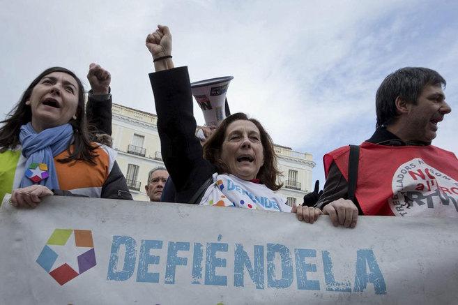 Protesta de los trabajadores de Telemadrid en contra del ERE.