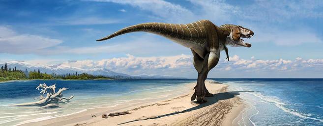 Recreación artística de la nueva especie de tiranosaurio Lythronax...