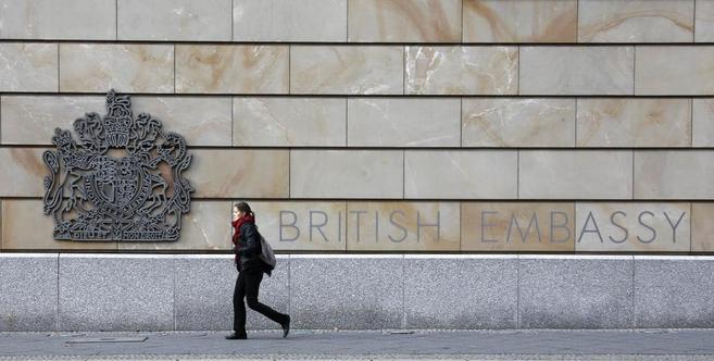 Fachada de la embajada británica en Berlín, desde donde...