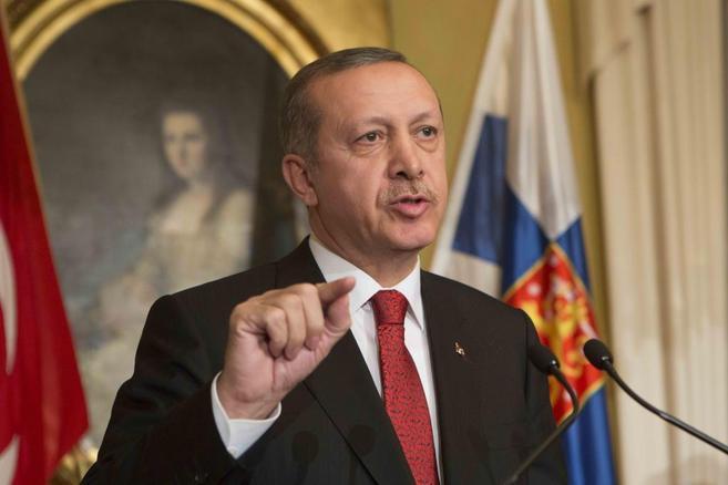 El primer ministro turco, Recep Tayyip Erdogan, en una rueda de prensa...