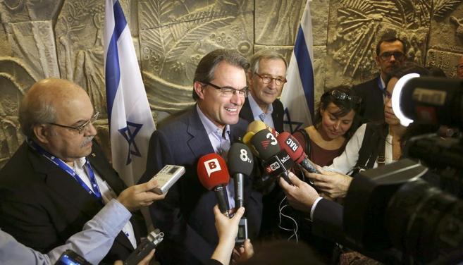 El presidente Mas en su primer contacto con la prensa en Tel Aviv