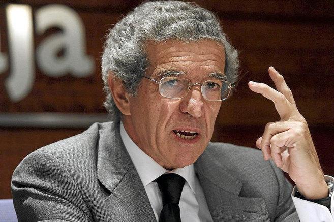 El presidente de Unicaja, Braulio Medel, durante una rueda de prensa...