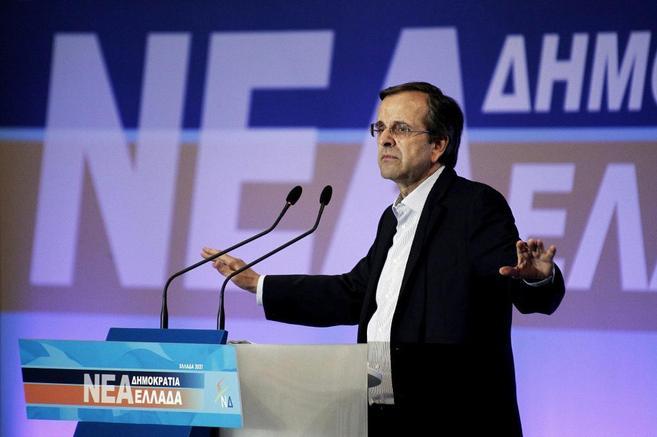 El primer ministro de Grecia, Antonis Samaras, en un acto de su...