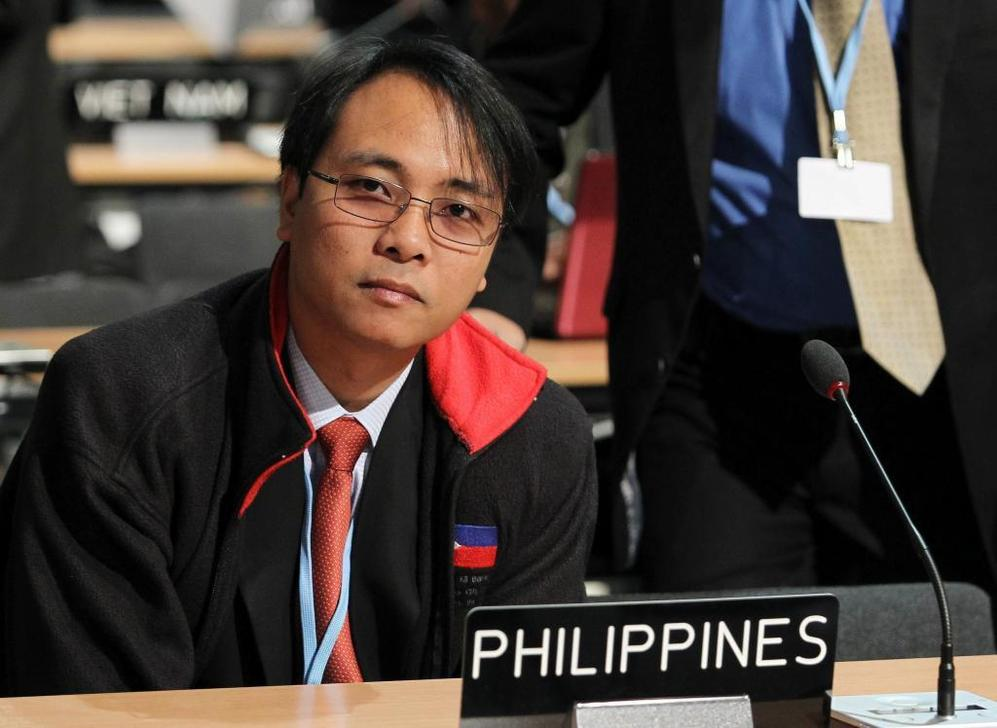 El delegado del gobierno filipino, en la Cumbre del Clima de Varsovia.