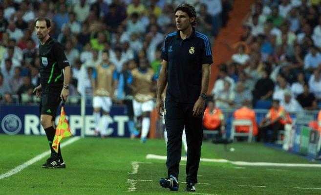 Aitor Karanka, durante un encuentro del Real Madrid.
