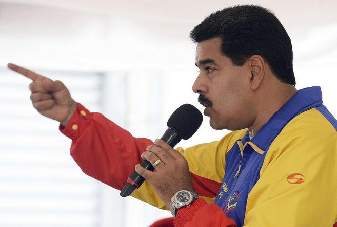 El presidente venezolano, Nicolás Maduro, da un discurso en Caracas.